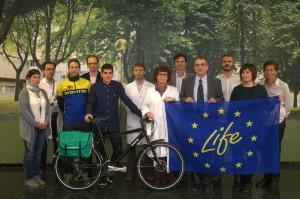 """Life Respira de la Universidad de Navarra pone en marcha la gran """"bicicleta humana"""""""