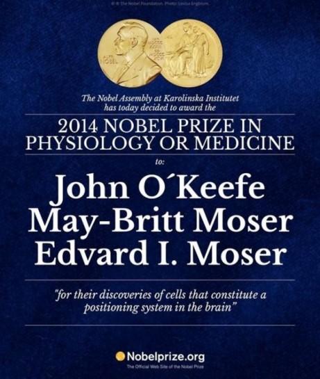 John O'Keefe y el matrimonio Moser, Premio Nobel de Medicina 2014