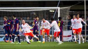 Nino celebra el gol de la victoria. DR