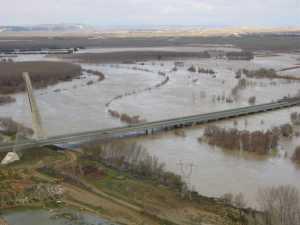 La Cuenca del Ebro, la más afectada en este momento por las inundaciones sufridas en  Navarra.