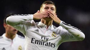 Toni Kroos celebra su primer gol con el Madrid. DR