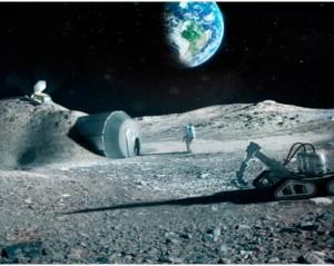 Base lunar recreada por la ESA.