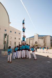Los castellers de la Asociación Xoriguers de la Universitat de Girona en la UPNA
