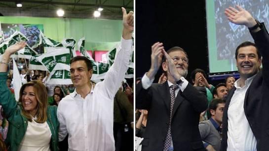 Los candidatos a la Presidencia andaluza cierran campaña arropados por líderes nacionales