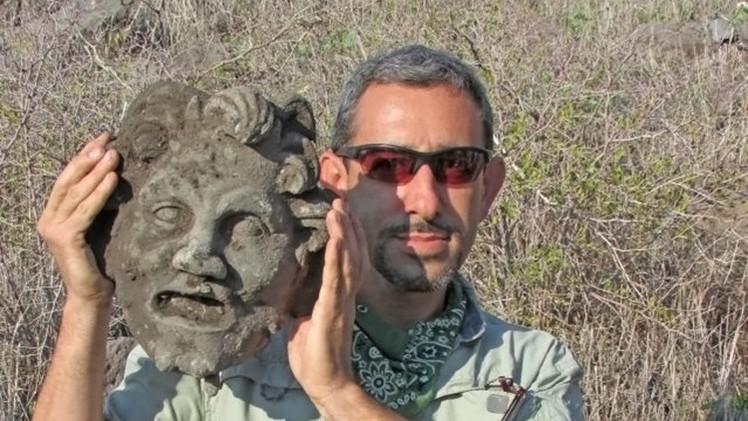 Encuentran una rara máscara del dios griego Pan en una excavación en el Golán
