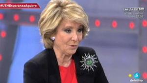 Esperanza Aguirre, en un momento de la entrevista a Tele 5
