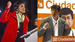 Los candidato de Podemos y de Cudadanos, Teresa Rodríguez y Juan Marín.