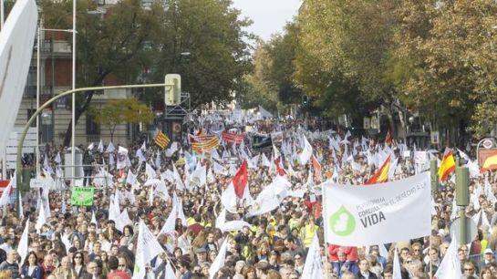 Decenas de asociaciones se manifiestan contra la Ley del aborto en Madrid