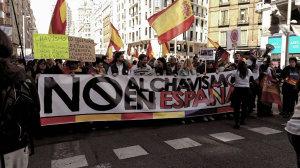 """Bajo el lema """"No al chavismo en España"""", la marcha ha discurrido por el centro de Madrid."""