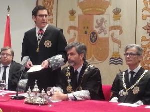 Miguel Pasqual del Riquelme Herrero, nuevo presidente del TSJMU, durante su discurso.