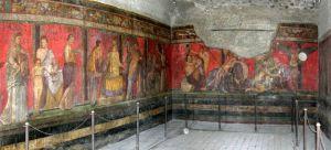 Gran fresco en el triclinio de la Villa de los Misterios en Pompeya.