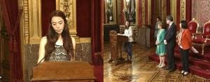 A la izda, la representante del colegio Larraona, a la dcha en el atril, la representante del colego Hijas de Jesús. MNC Navarrainformacion.es