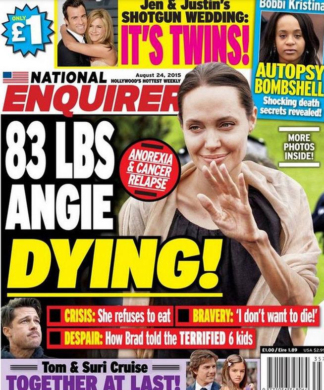 Angelina Jolie se está muriendo, según una revista estadounidense