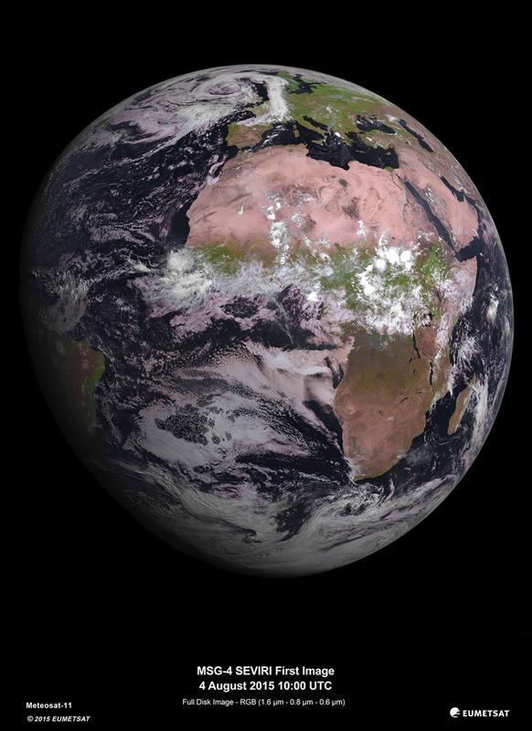 El satélite meteorológico MSG-4 hace su primera foto
