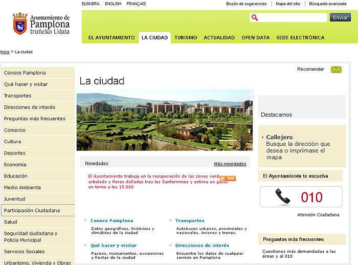 La página web de Pamplona es la tercera más accesible del conjunto de España