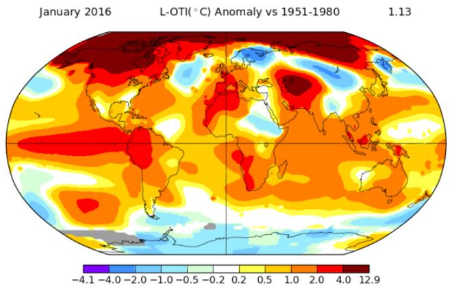 Enero de 2016 es el más caluroso desde que se tienen registros, también según la NASA