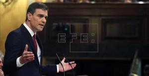 El secretario general del PSOE, Pedro Sánchez, interviene en la primera jornada de la sesión de su investidura en el Congreso de los Diputados.