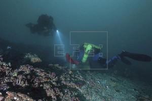 """Fotografía facilitada por la Universidad de Melbourne hoy, 10 de marzo de 2016, que muestra a dos buzos que inspeccionan un arrecife cerca de cinco culumnas de caliza escondidas debajo de los """"Doce Apóstoles"""" en alta mar cerca de la costa de Victoria (Australia). EFE"""