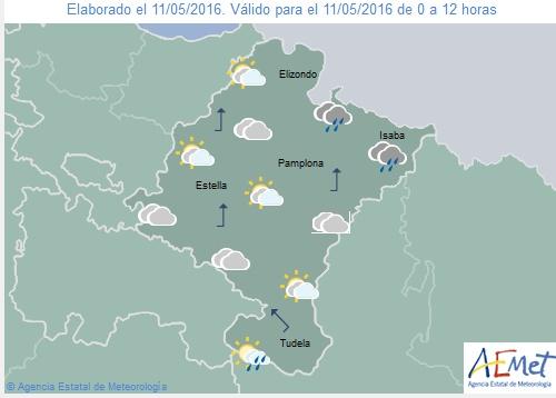 Cielo cubierto con lluvias débiles en Navarra