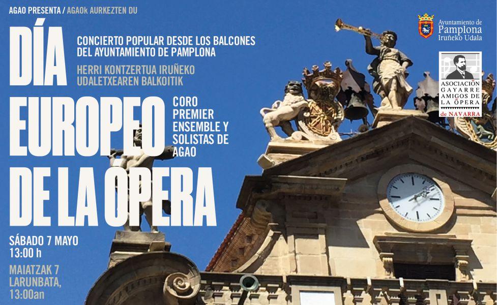 AGAO ofrece un concierto popular desde los balcones del ayuntamiento de Pamplona