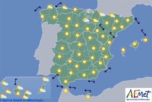 Hoy, cielos despejados en casi toda España y levante fuerte en el Estrecho