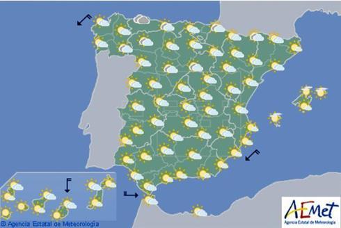 Nubes en cuadrante noroeste, temperaturas en ascenso en Amdalucía y Navarra