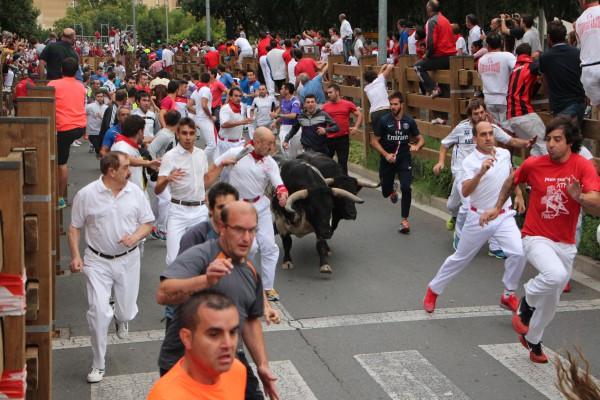 Dos heridos leves en el primer encierro de Tudela