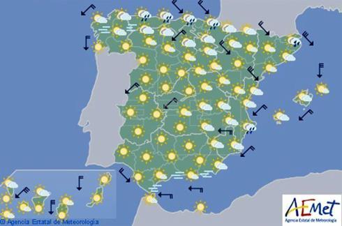 Las nubes se extienden hoy al este de la Península Ibérica