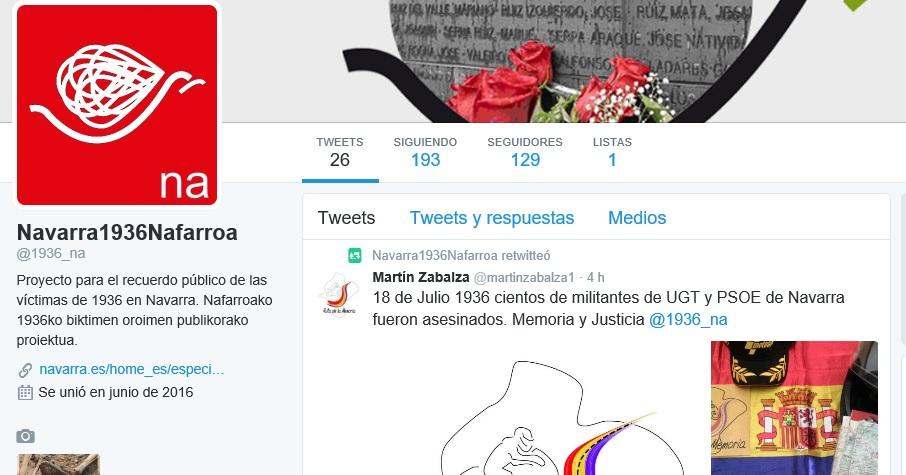 El Gobierno de Navarra recuerda en twitter a las víctimas del 1936