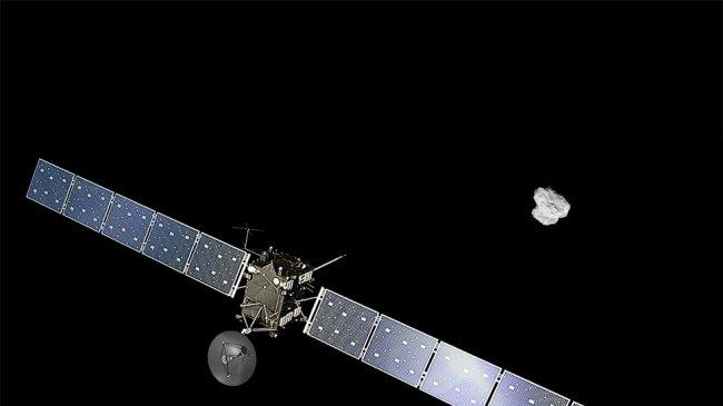 Otra fotografía de Rosetta: una fuente de polvo procedente del interior de su cometa