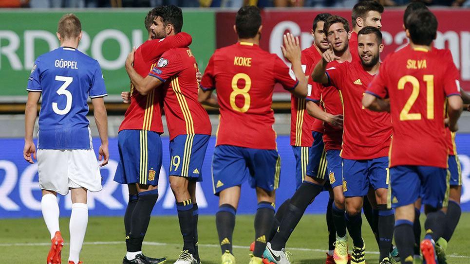 8-0. España vapulea a Liechtenstein y Diego Costa zanja el debate