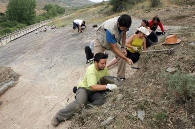 Una excavación recupera una necrópolis y huellas de dinosaurio en Regumiel (Burgos)