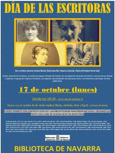"""La Biblioteca de Navarra se suma a la celebración del """"Día de las escritoras"""""""
