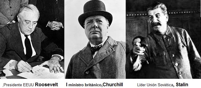 EEUU , Rusia y Gran Bretaña, reunidos en Yalta,establecen un nuevo orden mundial