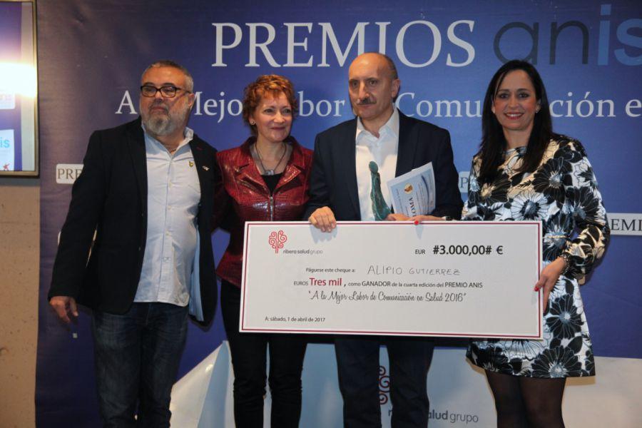 Alipio Gutiérrez, ganador del IV Premio ANIS por su trayectoria profesional