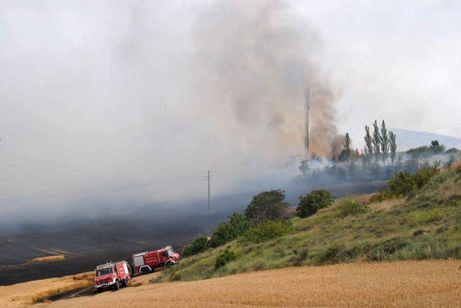 Los incendios de Artajona y Esparza de Galar quemaron más de 50 hectáreas