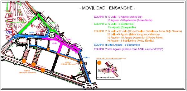 El Ayuntamiento de Pamplona comienza la reordenación del tráfico en el Ensanche y Casco Viejo