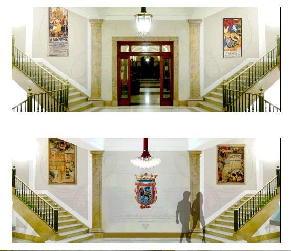 La nueva decoración del zaguán del Ayuntamiento de Pamplona sustituirá a los Reyes de Navarra