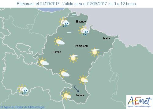Cielo nuboso o poco nuboso en Navarra y temperaturas con ligeros cambios