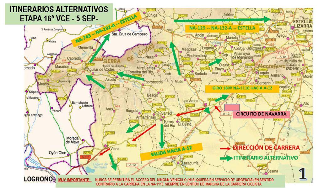 Restricciones al tráfico por la vuelta ciclista a España por Navarra
