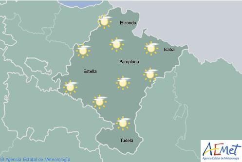 En Navarra el cielo estará poco nuboso aumentando a la tarde con posibles lluvias