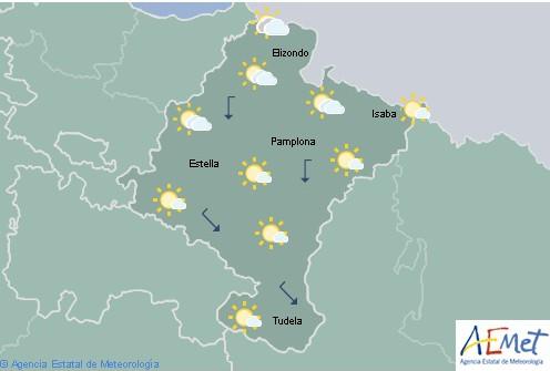 Hoy en Navarra nuboso en el noroeste tendiendo a poco nuboso