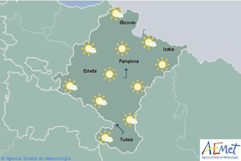 Hoy en Navarra poco nuboso o despejado tendiendo a nuboso por la tarde