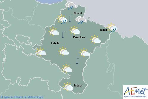 Hoy en Navarra cubierto con lluvias, tendiendo a poco nuboso por la tarde y temperaturas en descenso