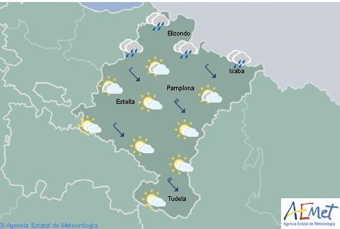 Hoy en Navarra lluvias débiles en el norte y temperaturas máximas en descenso