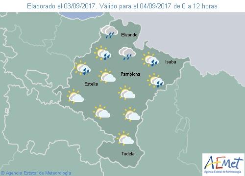 Nuboso tendiendo a poco nuboso y lluvias débiles en el norte de Navarra