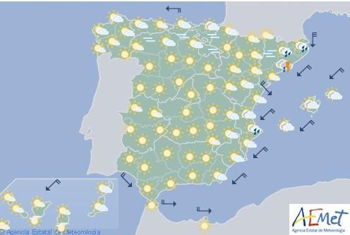 Hoy en España, inestabilidad y descenso de las temperaturas en el Mediterráneo