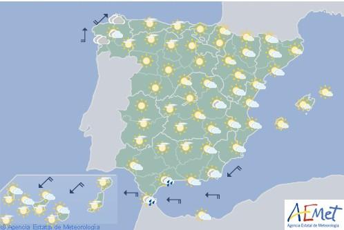 Hoy en España poco nuboso o despejado con posibilidad de tormentas en Melilla