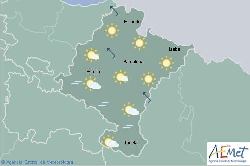 Poco nuboso o despejado con rachas de viento fuertes en Navarra