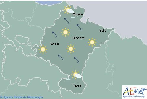 Hoy en Navarra cielo poco nuboso o despejado y temperaturas sin cambios